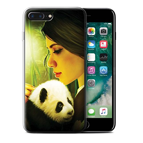 Officiel Elena Dudina Coque / Etui Gel TPU pour Apple iPhone 7 Plus / Oui Maman/Lion/Petit Design / Les Animaux Collection Petit Panda/Bambou
