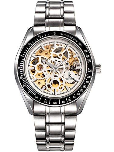 Alienwork IK Lumineux mechanische Automatik Armbanduhr Skelett Automatikuhr Uhr Herren Uhren Leuchtzifferblatt modisch Metall weiss silber 98545S-G-02