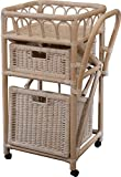 Servierwagen / Küchentrolley aus echtem Rattan in der Farbe Vintage Weiss - Versandkostenfrei in DE