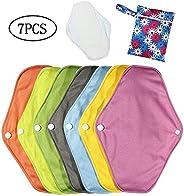 Reusable Sanitary Towels, 7 PCS Charcoal Bamboo Cloth Sanitary Pads, Washable Menstrual Sanitary Napkin Panty Liners with We