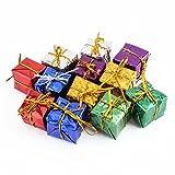 12 Stück Miniatur Geschenk Kästen sortierte nette glänzende Folie bunte quadratische kleine Kästen für Weihnachtsbaum Dekoration