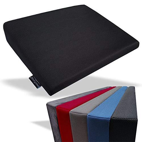 Medipaq - cuscino a cuneo memory foam per il supporto della schiena, correzione della postura, sollievo dal dolore e aumento dell'altezza - cuscinetto ortopedico per sedile con rivestimento a rete 3d lavabile e traspirabile - con fondo antiscivolo