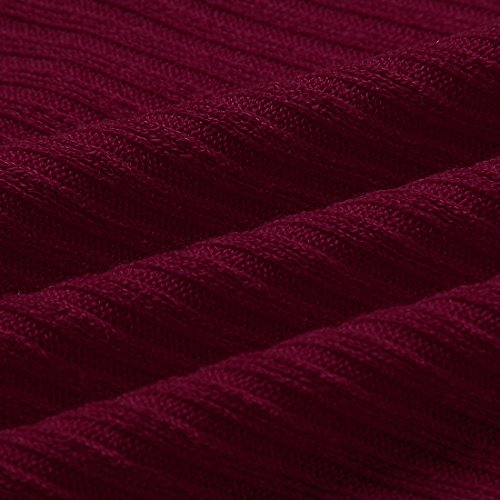 Yidarton Damen Pullover Oversized Rippe Knitted Batwing Baggy Jumper Top Strickjacken Weinrot