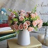 Kicode 10 Kopf Kunststoff-Fälschungs-Blatt Rosen-Blumen-Blatt-künstliche gefälschte Bouquet Hochzeitsdeko Brautstrauß Ho
