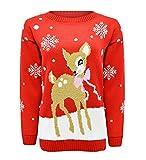 Blush Avenue® Kids Unisex Bambi Deer Cute Knit Jumper Christmas Xmas Long Sleeve Top Year 3-12