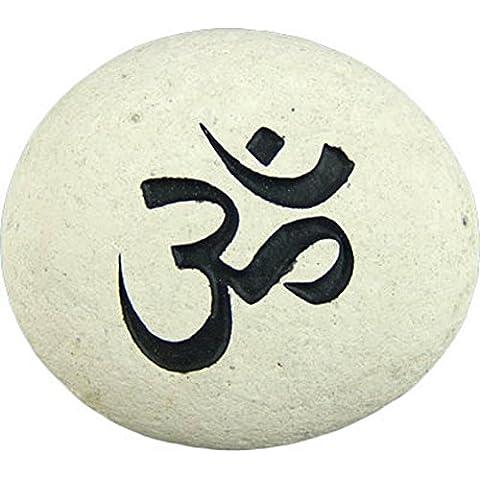 Kheops International–mani piedra con tallado y pintado Om símbolo