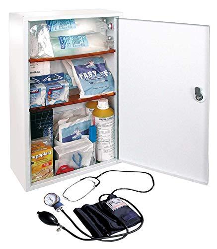 Armadietto cassetta medica di pronto soccorso metallo allegato 1 per aziende con 3 o piu' dipendenti completo di misuratore di pressione