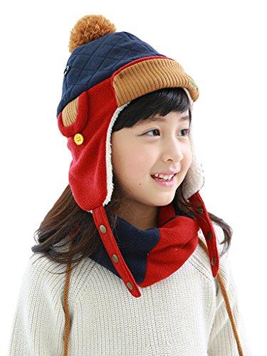 Bigood Bonnet Bébé Cache Oreilles Chapeau Hiver Pompon Fausse Fourrure Protection Chauffant