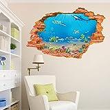 Wallpark 3D Roto Pared Vistoso Mundo submarino Tiburón Algas marinas Desmontable Pegatinas de Pared Etiqueta de la Pared, Sala Dormitorio Hogar Decorativas Adhesivas DIY Arte Murales