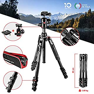 Manfrotto MKBFRLA4BK-BH Befree Advanced Travel Tripod, Lever Lock with Ball Head for Canon, Nikon, Sony, DSLR, CSC, Mirrorless, Up to 8 kg with Tripod Bag, Lightweight Aluminium, Black