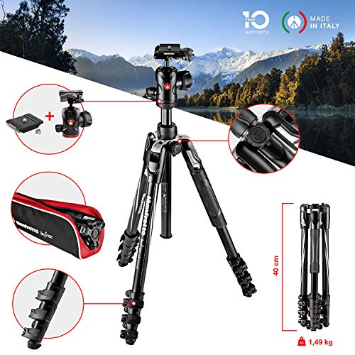 Manfrotto MKBFRLA4BK-BH Befree Advanced Alu Reisestativ QPL (Klemmverschluss) mit Kugelkopf, inkl.Tasche (für Canon, Nikon, Sony, DSLR, CSC, Spiegellose Kamera, Traglast), Klemmverschluss/schwarz -