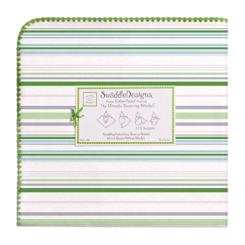 SwaddleDesigns - Puckdecke für Neugeborene in Grün (Streifen)