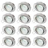 sebson® Einbaustrahler inkl. LED Modul 5W Ra95 400lm, 3000K warmweiß, 230V, Deckeneinbaurahmen schwenkbar/Silber, ø83 x 21mm, Aluminium Chrom, 12er Pack