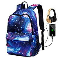 Deeumy Large Capacity Galaxy Backpack School Bag Laptop Backpack with USB Charging Port, Unisex Fashion Rucksack Anti-Theft Travel Bag College Bookbag