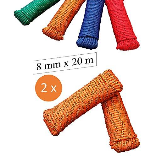 Orange 8x10 Bereich (Seil 8 mm 20 m - 2 Stück-Set - Polypropylenseil PP, Festmacherleine, Allzweckseil, Strick, Gartenseil, Outdoor - Bruchlast: 700kg, 20m x 8mm 2er Set, orange-gelb-schwarz)