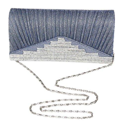 Damara® Fashion Paillette Da Donna Con Strass Da Sera Con Piega Oro