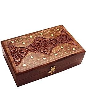 Danksagungsgeschenke Für deine Geliebten Holz-Schmuck-Box, Aufbewahrungsbox mit Schnitzarbeit (6X4), VintageBox...
