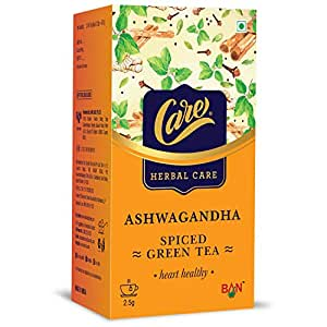 Care Ashwagandha Spiced Green Tea for Weight Loss & Build Immunity | Detox Desi Kahwa Green Tea with Herbs Like Cinnamon, Tulsi, Ginger - 25 Tea Bags