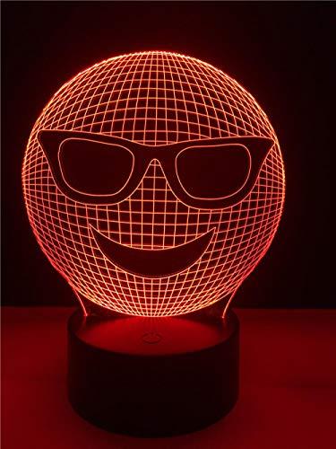 3D Nachtlicht Dekorative beleuchtung kabel 3d led cool emoji wear sonnenbrille geformt schlafzimmer nachtlicht multicolor tischlampe freunde geschenke