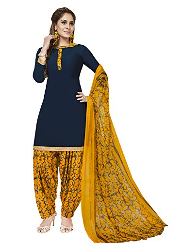 Jevi Prints Women's Unstitched Synthetic Crepe Blue & Yellow Solid Printed Salwar...