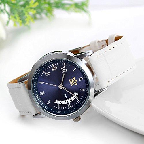 JewelryWe Damen Herren Armbanduhr, kalender analog Quarz Uhr, mit Digital Blau Zifferblatt partneruhren, Leder, Legierung, Lieben Valentinstag Geschenk, Weiss