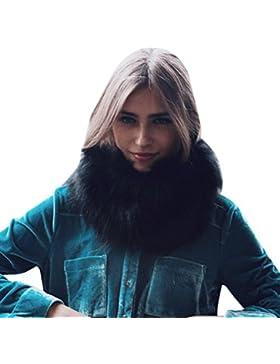 Cuello de pelo,Morwind Abrigo de piel de imitación cálida bufanda chal de invierno abrigo de cuello bufandas para...