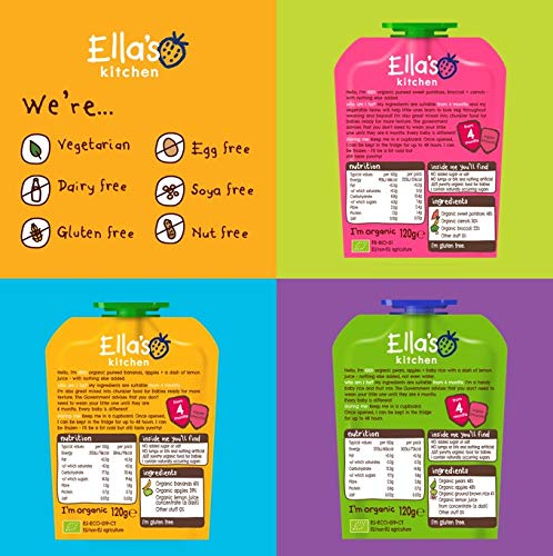 Ella's Kitchen Organic Weaning Variety Pack, Weaning Stage 1, 4+ Months Baby Food, 120g Pouch (Pack of 21 Pouches)