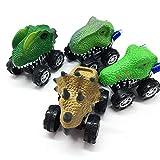 KOBWA 4 x Dinosaurier-Autos, niedliches realistisches Tier-Auto-Spielzeug mit großem Reifenrad, Monster Fahrzeug-Spielset, Partyzubehör, kreatives Geburtstagsgeschenk für Kinder Dinosaurier