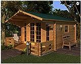 Mondocasette Casa Gartenhaus aus Holz - Modell Milano Wandstärke 45 mm 380 x 380 cm, Holzbox