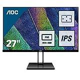 """AOC 27V2Q Monitor LED da 27"""" IPS, FHD, 1920 x 1080, Senza Bordi, HDMI, DP, Nero"""