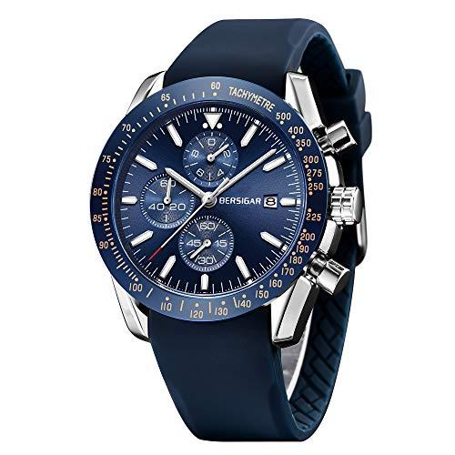 Bersigar affari degli uomini casuale cronografo impermeabile orologio da polso al quarzo
