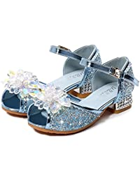 O.AMBW.Zapatos de Tango Latino para Niños Vestir Fiesta Arco Princesa Sandalias Perla Rhinestone Lentejuelas Zapatitos de Tacón Bebé Niña Primavera Verano Zapatillas de Baile Niñas 3-14 Años