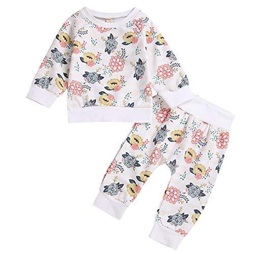 Yonimu Raglan-Lange Hülse und volles Blumen-Drucken, Nette Baby-Mädchenoberseiten-Sweatshirt + Pants 2pcs / Set (Color : White, Size : 3M-6M) (Erwachsenen-raglan-langarm)