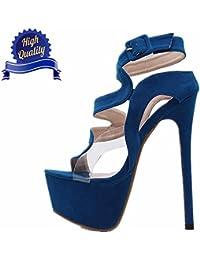 Tacon Alto Para Mujer Plataforma RocíO Del Dedo Del Terciopelo Hollow Moda Nuevo Elegantes Zapatos Con Sandalias Tacones De Plataforma 16cm