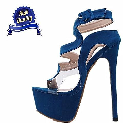 Tau Toe Hollow Velvet Hundert Stil 6,2 Zoll Bühne Lady Vollständige Charme Heels Sandalen (35, Blau)
