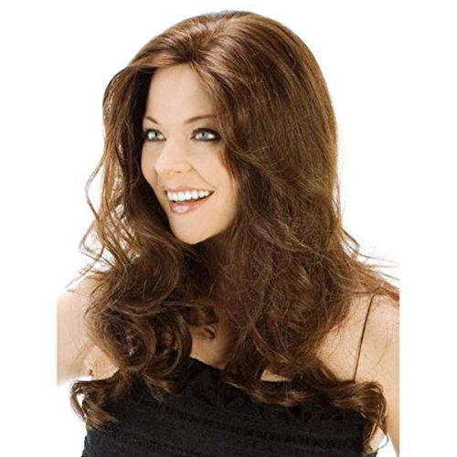SHKY Frauenperücke Mittlere Länge Wavy Curly Hair Perücken Hellbraun Als echte Haarperücken