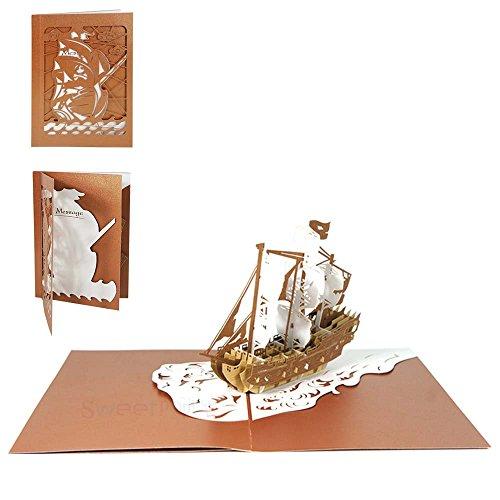 Sweetpopup 3D Handmade Grußkarten - Pop Up Karten Glückwunschkarten für Geburtstag Einladungen Jubiläum Gutschein Vatertag Firmenkarten (Piraten Schiff 2) (Piraten Schiff 1)
