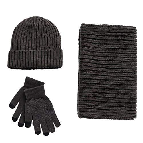 ZWXIN 3pc Winter Soft Knit Beanie Mütze Schal Screen Gloves Set, Herren Damen