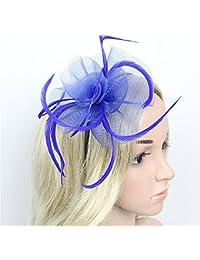Señoras para Mujer Elegante Headwear Flower Mesh Feather Fascinator  Hairband Hat para la Fiesta del té bf54fc63e2b