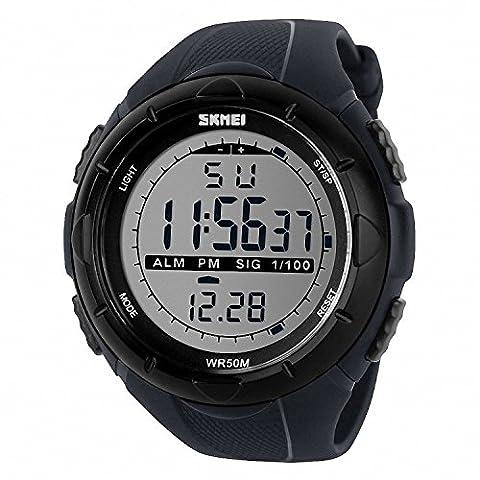 TTLIFE 1025 en plein air Hommes Sport Montres multifonctions montres bracelet LED 50 m étanche (Orologio Subacqueo)