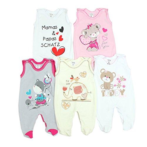 TupTam Unisex Baby Strampler mit Aufdruck Baumwolle 5er Set, Farbe: Mädchen 2, Größe: 68