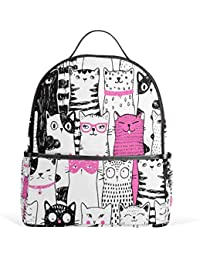 12d85a4c433b use4 Cartoon Hipster cat Kitten Polyester Backpack School Travel Bag