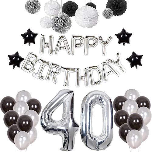 (Weimi 40. Geburtstag Dekorationen für Männer aufpumpen Helium Folienballons Dekoration Set)