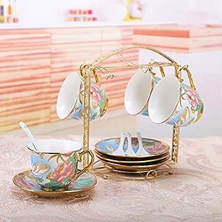 XOSHX Keramik Kaffeetasse Set Europäischen Kaffeetasse Kreative 4 Stück Set Kaffeetasse Europäischen Stil Wohnzimmer Home 4
