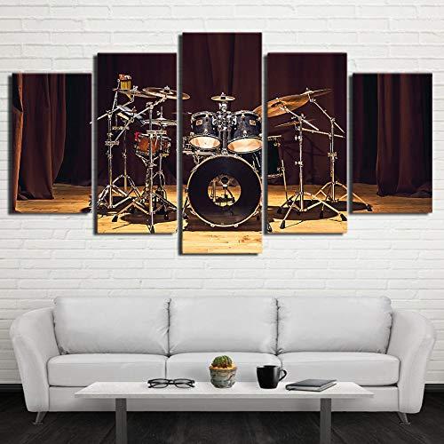 Quadro su Tela Stampe HD Arte della Parete 5 Pezzi Musica Rock Stage Batteria Immagini Modulari Decorazioni per la casa Poster per Soggiorno