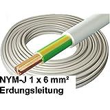 5 Meter - NYM-J Kabel, 1x 6mm², grau, Erdungsleitung / Erdungskabel