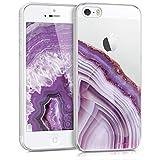 kwmobile Coque Apple iPhone Se / 5 / 5S - Étui de Protection Souple en Silicone pour Apple iPhone Se / 5 / 5S - Violet-doré-Transparent