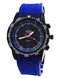 Sportliche Herren Silikon Uhr in Blau Schwarz