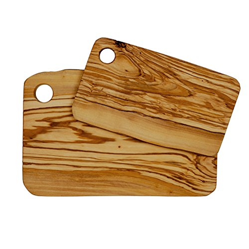 Set of 2 cutting boards for food preparation and presentation - premium natural olive wood chopping board made in italy by truffle toast home