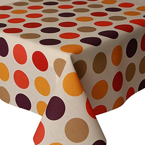 acryl-tischdecke-multi-spots-2-m-200-cm-x-140-cm-retro-grosse-polka-dot-runde-kreise-gelb-orange-lil